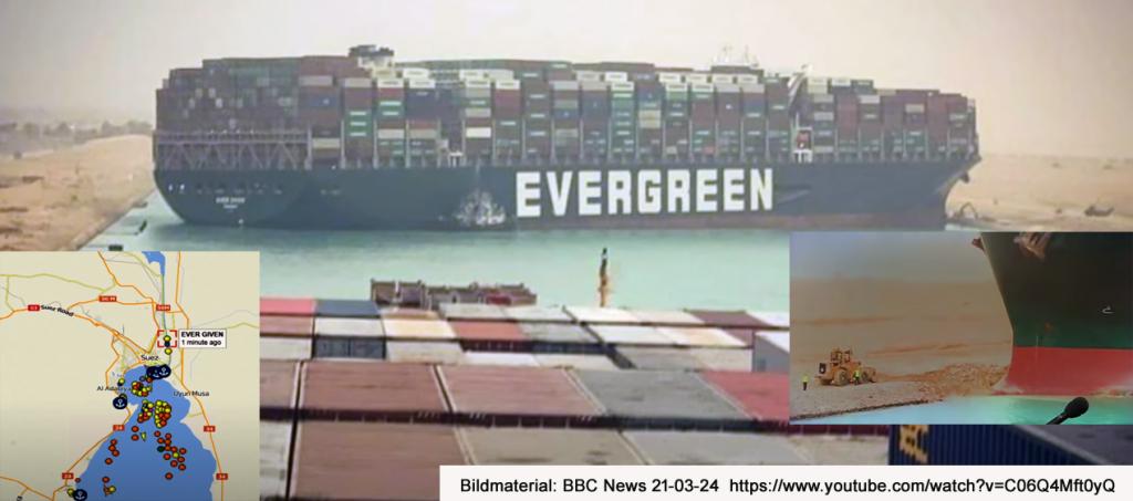 Kontainerfartyg stänger Suezkanalen 21-03-24 Bildmaterial: BBC News 21-03-24 https://www.youtube.com/watch?v=C06Q4Mft0yQ, ©BBC News